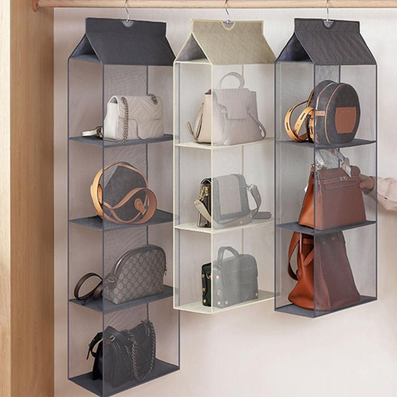 Dozzlor Handtasche Hängende Organizer Hängende Kleiderschrank Organizer Dreidimensionale Aufbewahrungstasche Handtasche für Closet1
