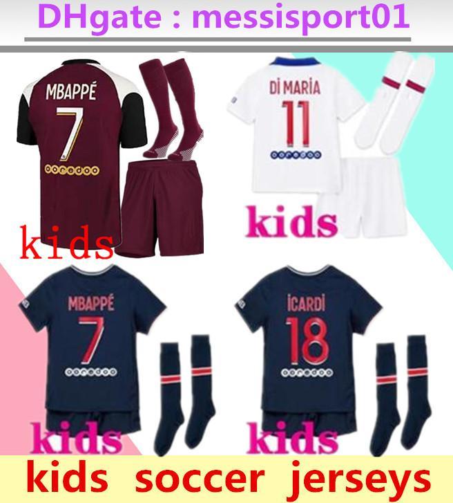 아이들 20 21 Mbappe 축구 유니폼 3RD 4HT 키트 2020 2021 Maillot Icardi 소년 풀 세트 유니폼 축구 셔츠