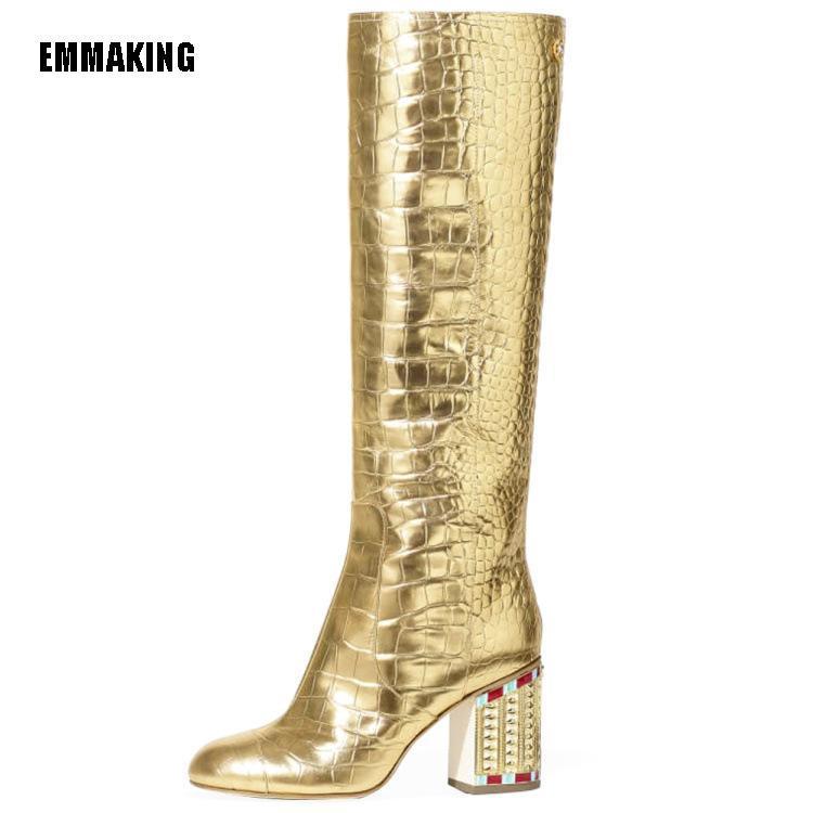 EMMA KING جديد الترقيع الذهب المرأة الركبة أحذية عالية الذهب Blingbling ساحة تو أحذية عالية الكعب السيدات الشتاء الطويلة 2020