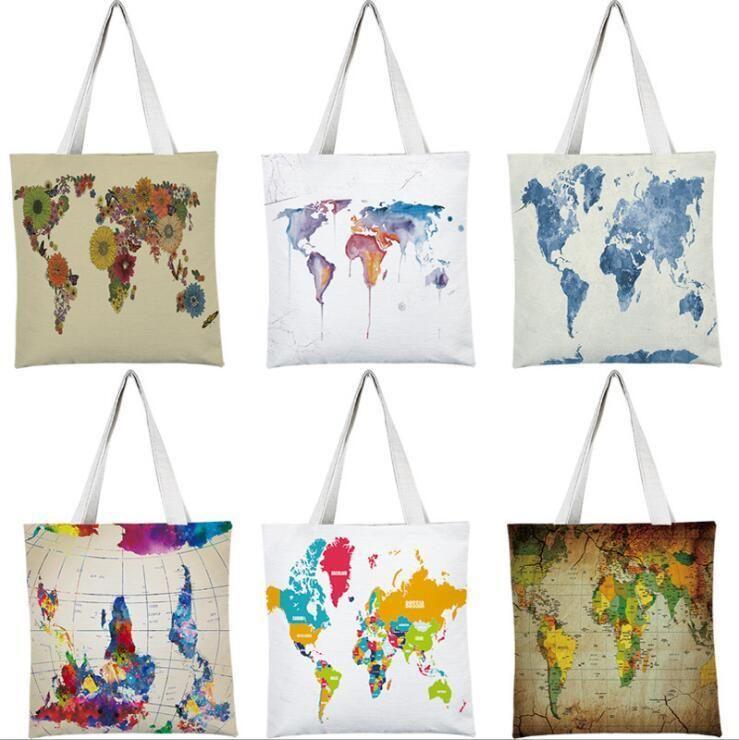 Coloranimal Toile Sac à main pour Femmes Grand Capacité Sac à bandoulière Travel Schoolbag Scolaire 3D Carte du monde Imprimer Toot Sacs Eco Sacs