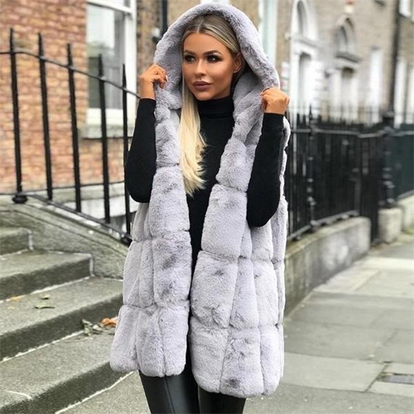Casual Gevşek Yelek Coat Plus Size 1023 3X Dış Giyim Kadın Kolsuz Yelek Kapşonlu Uzun Ceket Sonbahar Katı Renk Sıcak Yün Ceket