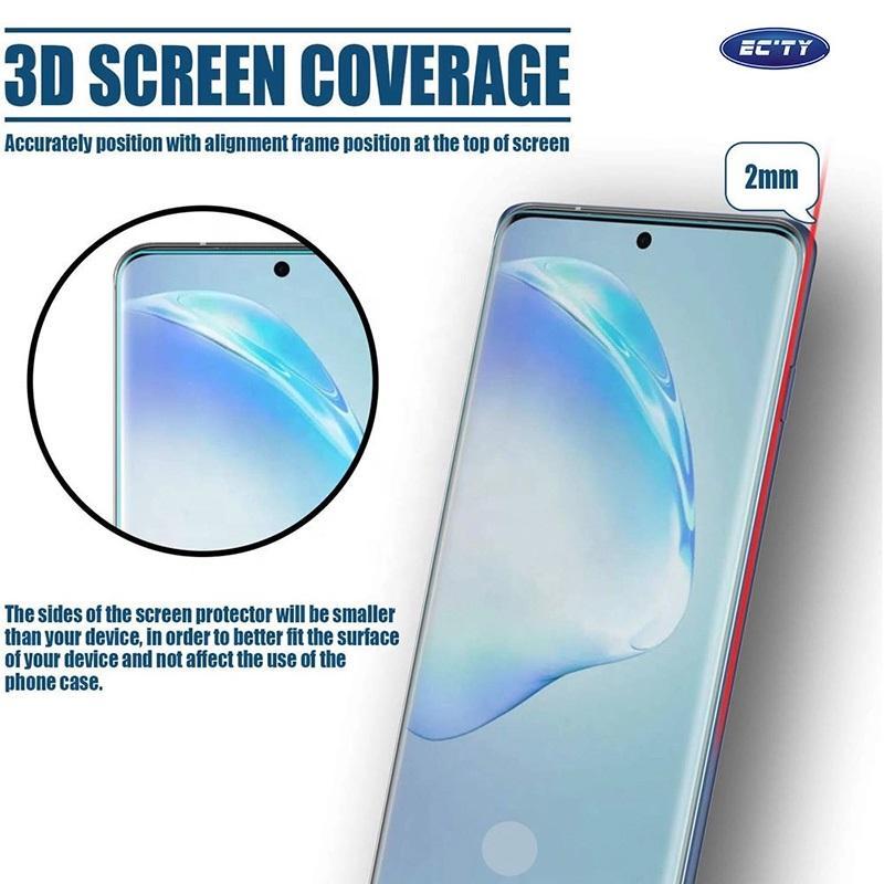 3D منحني كاملة الغراء الزجاج المقسى لسامسونج S20 Note20 S9 S8 زائد Note8 الكامل لاصق شاشة حامي القضية ودية مع ضوء الأشعة فوق البنفسجية في صندوق