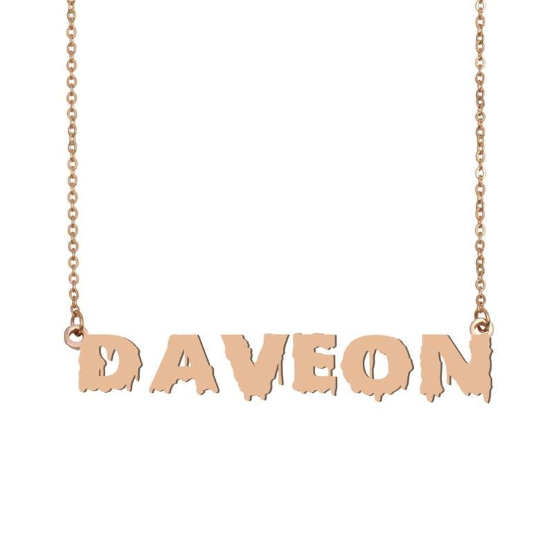Daveon Name Necklace , Cool Bloody Art Name Necklace for Halloween and Santa's Day Jewelry Gift for Kids Boys Girls