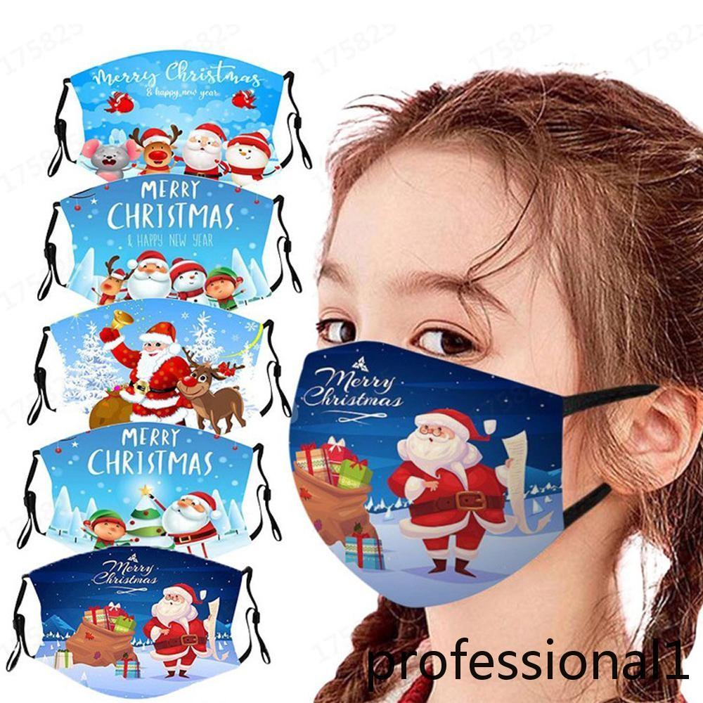 2021 Natale tema maschera viso bambini ragazzi ragazze allegro natale natale santa cervi fiocco di neve lavabile riutilizzabile bocca copertura in bocca stampa 3d maschere in tessuto