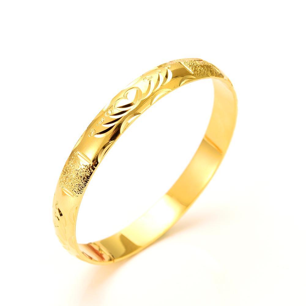 24kGold سوار المرأة الجميلة الصلبة الذهب GF دبي العروس سوار مجوهرات الزفاف الذهب الأصفر سحر 1PCS هدية أو 4PCS حدد