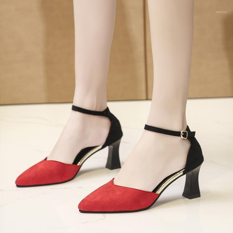 Flock High Heels Sandals Women Sexy Summer Pointed Toe Ankle Strap Pumps Shoes Thick Heel Closed Toe Sandals Black Red Blue 20201