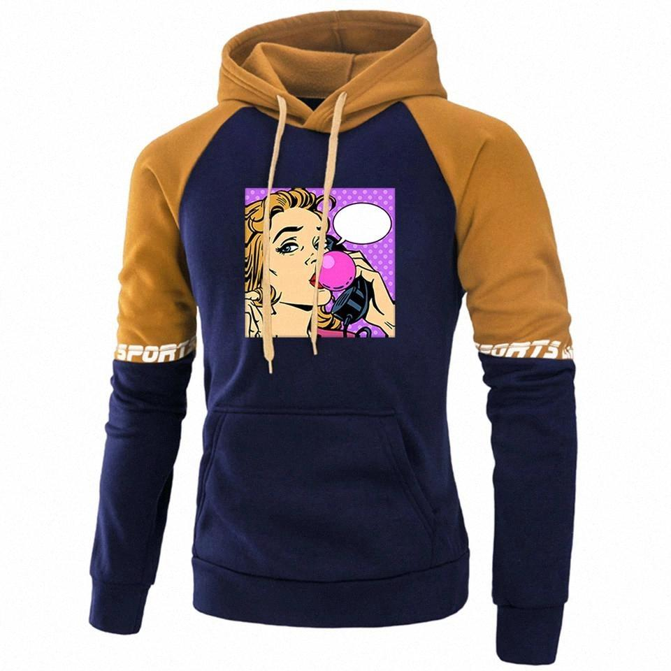 Art populaire Beautiful Womens Print Hoodie Hommes Fashion Raglan Sweats Sweatshirts Funny Automne Tracksuit Fleece Pull chaleureux # C55C