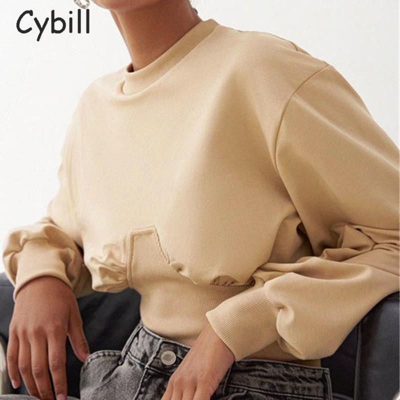 Cybill Katı Kırpılmış Kapüşonlular Kadınlar 2020 Uzun Kollu Streetwear O Boyun Kazak Tişörtü Kısa Kazak Kapüşonlular