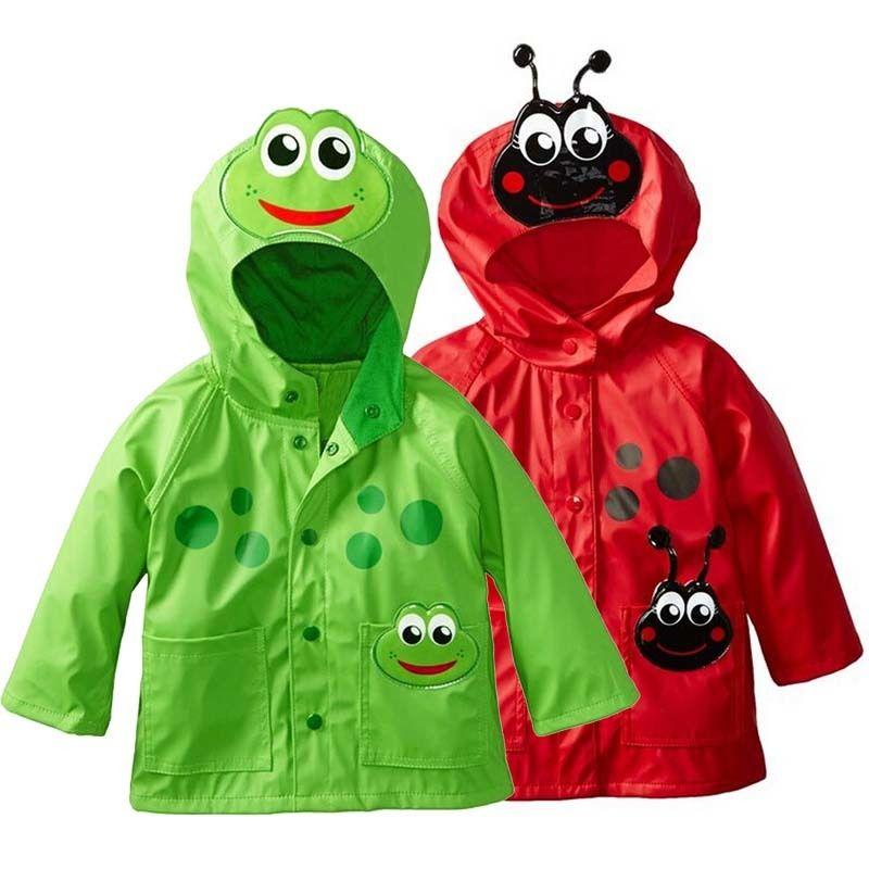 2 3 4 5 6 Y Детское дождевик для детей Одежда для девочек Зеленая лягушка Red Bee Симпатичные Hooded водонепроницаемый дождевик мальчик ветрозащитный Trench куртка C1108