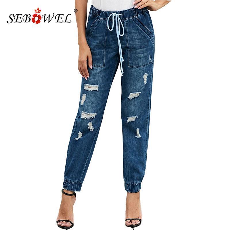 SEBOWEL Nouvelle détresse femme élastique cordonnet ensachés Jeans Pantalons Joggers Bleu / Noir Femme en vrac Denim Jean Pantalons Taille S-XXL