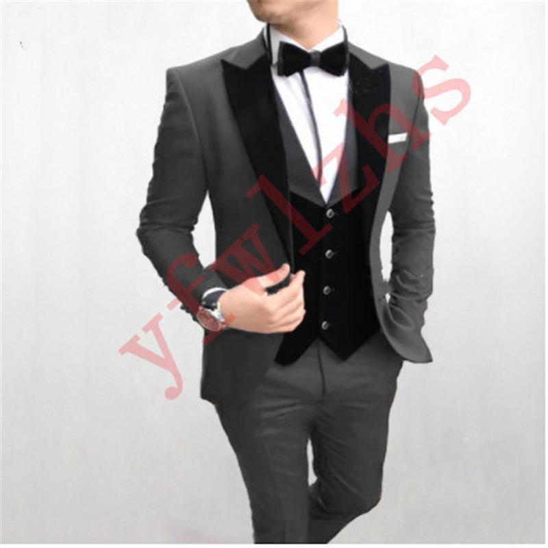 Костюмы Классические свадебные смокинги Пик нагрудные Тонкий подходят для мужчин Groomsmen костюм Три пьесы Пром Формальные костюмы (куртка + брюки + жилет + Tie) W232