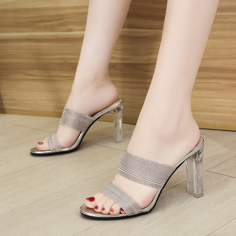 Pink Sequined Cloth Transparent Slippers Women Sandals Sexy Open Toe High Heels Slides Woman Silver Party Shoes Ladies