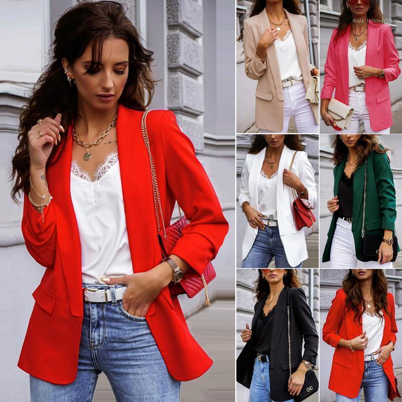 Womens Casual Blazers Open Front Long Sleeve Work Office Jackets Coat Business Suit Slim Fit Cardigan1