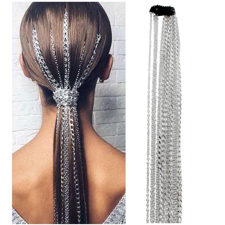 Parrucca catena di prolunga argentato nappa catena capelli catena copricapo testa catena capelli clip di BB 11250