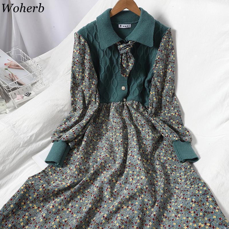Woherb moda vestido de malha lace up patchwork vestidos de malha mulheres cair roupas doces floral coreano coreano vestidos feminino