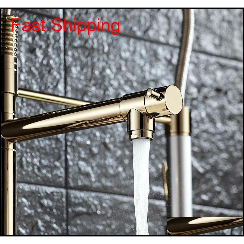 Luxury Gold Color Kitchen Faucet Tap Two Swivel Spouts Extensible Spring Mixer Tap Pull Out Down Kitchen Sin qylQym bde_luck