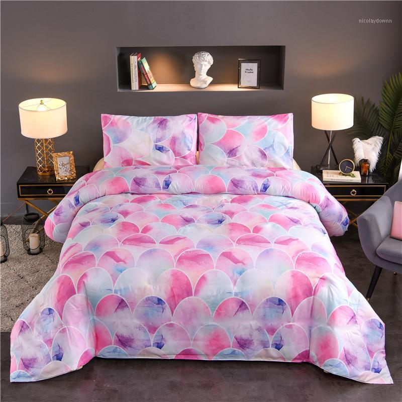 Yatak takımları Renkli Mermer Nevresim Yastık Seti 2/3 adet Yatak Balık Ölçeği Renk İkiz Çift Kraliçe Yorgan Yok Sheet1