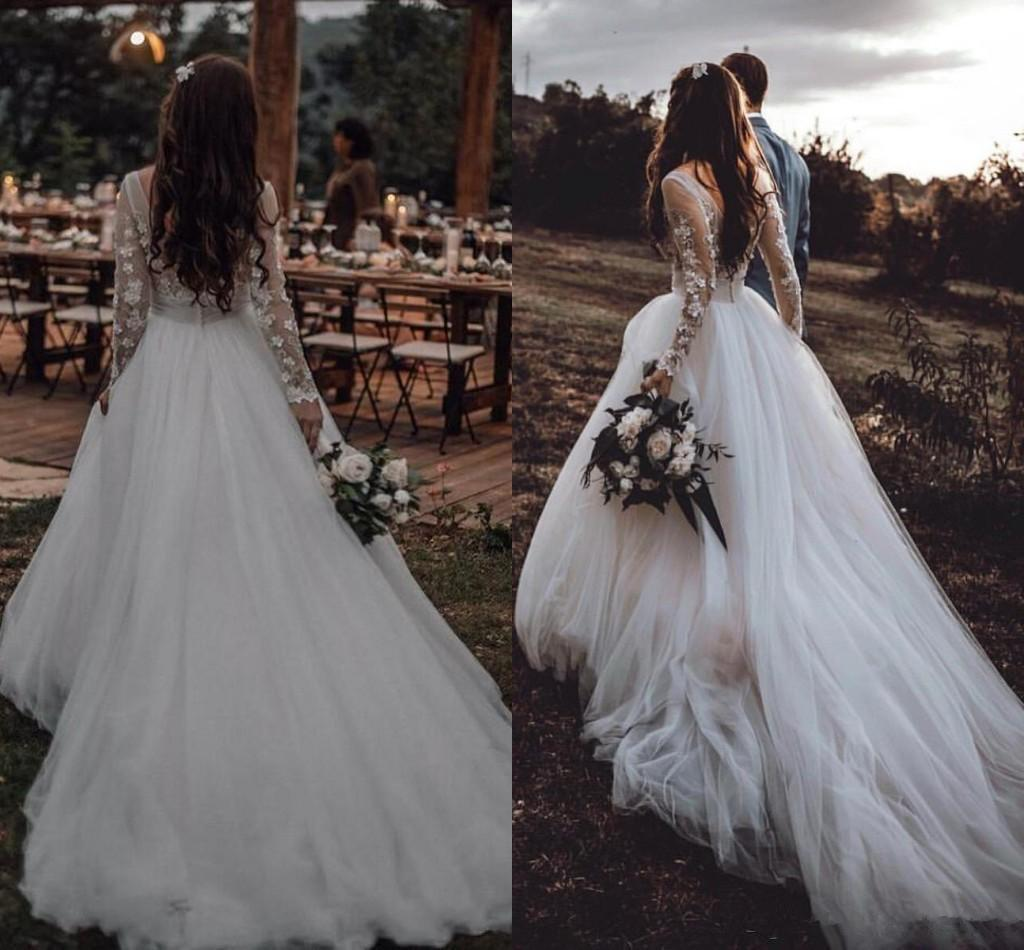 Country Princess Fairy Wedding Dresses 2020 Long Sleeves Lace Tulle Bohemian Beach Bride Reception Gown Robes