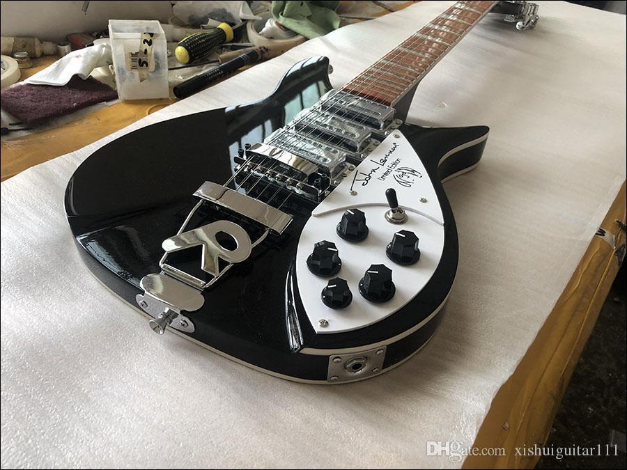 guitarras al por mayor de alta calidad personalizado eléctricos, 12 cuerdas Ricken 325 guitarras eléctricas, con el cuerpo de celuloide unidas a la parte delantera y bac