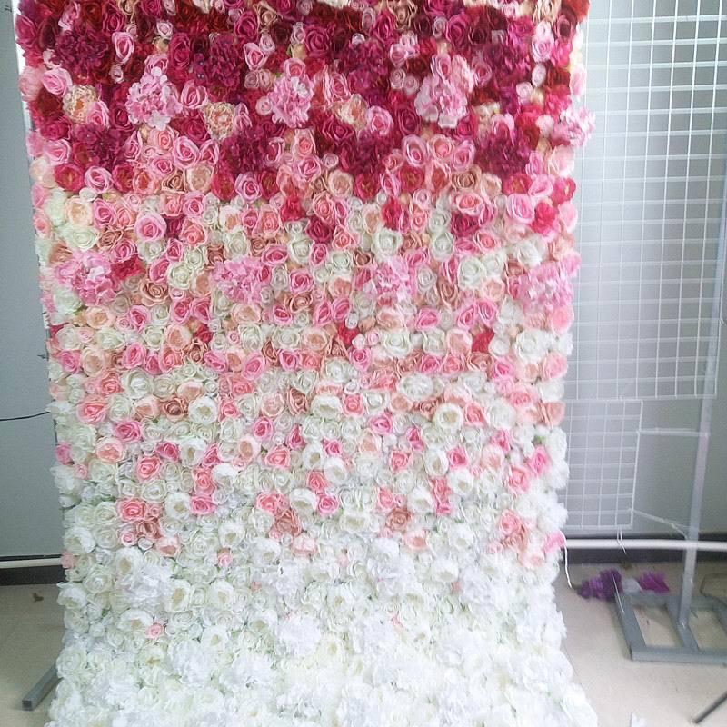 SPR roll up wedding flower wall stage backdrop pink ombre style flower wall panel artificial flower table runner arch floral T200716