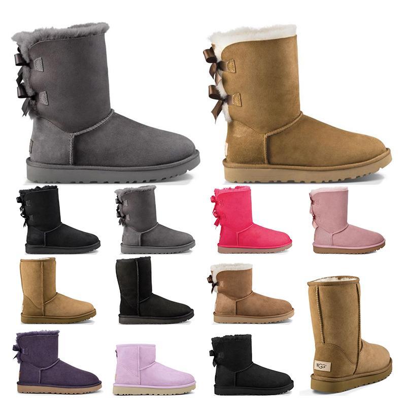 2021 donne invernali classici stivali da neve di avvio ragazza caviglia breve arco di avvio di pelliccia per l'inverno scarpe da donna di castagno nero di formato 5-10 di moda all'aperto