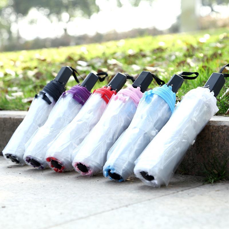 Moda Otomatik Açık Kapat Kompakt Rüzgar Geçirmez Şeffaf 3 Katlanır Şemsiye Güneş Yağmur Şemsiyeleri
