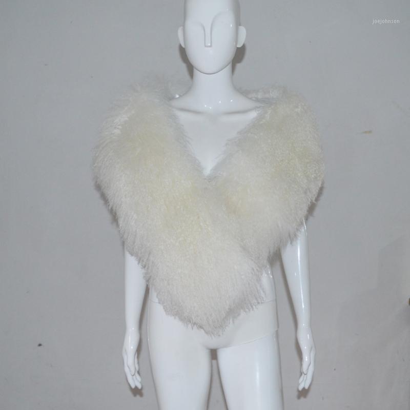 SJ187 Бесплатная доставка 150 см Длинная длина белая невеста овечья меховая мыса белые женщины столовые1
