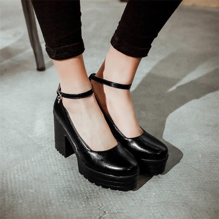 Zapatos de vestir PXELENA RETRO CLUCHO CHUNKY BLOQUE Tacones altos Tacones altos Bombas de mujer Plataforma gruesa tobillo correa fiesta boda punk 34-43
