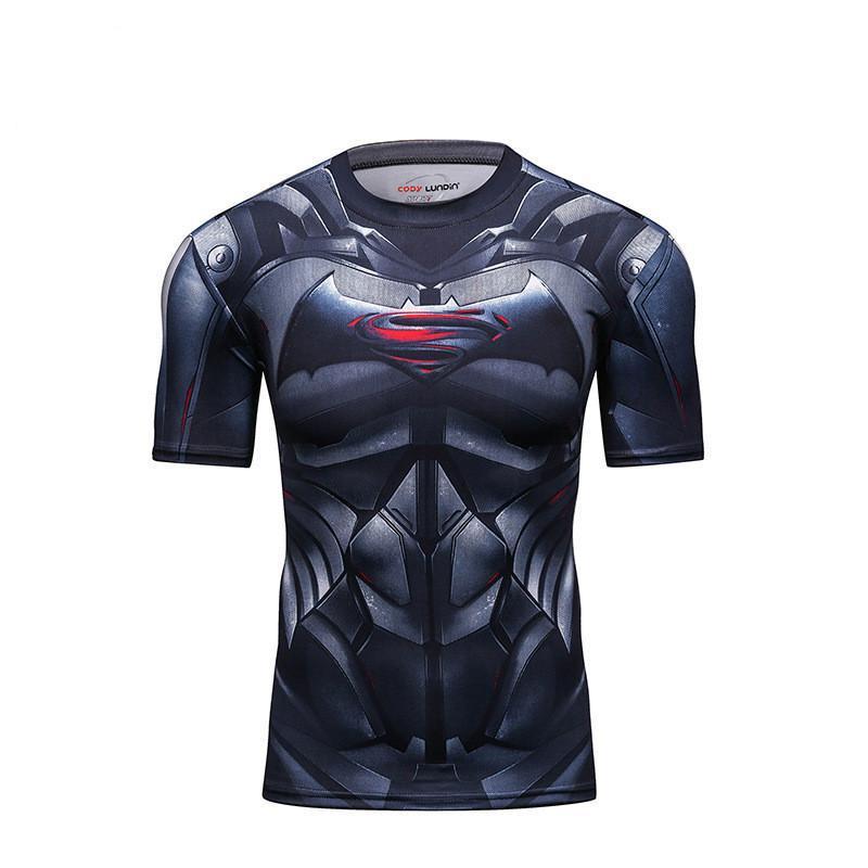 Men Impresso Crew Neck PRO apertado fitness Treinar T-shirt corrente estiramento de secagem rápida respirável ciclismo de manga curta