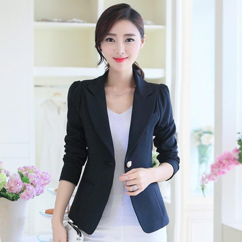 새로운 우아한 싱글 버튼 단색 재킷 정장 봄 슬림 여성 자켓 캐주얼 긴 소매 화이트 여성 코트 탑