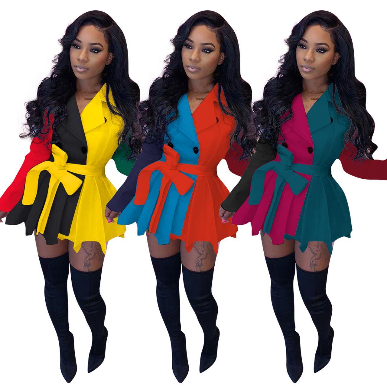 FE042 أزياء المرأة عارضة اللون مطابقة فستان طويل الأكمام للنساء