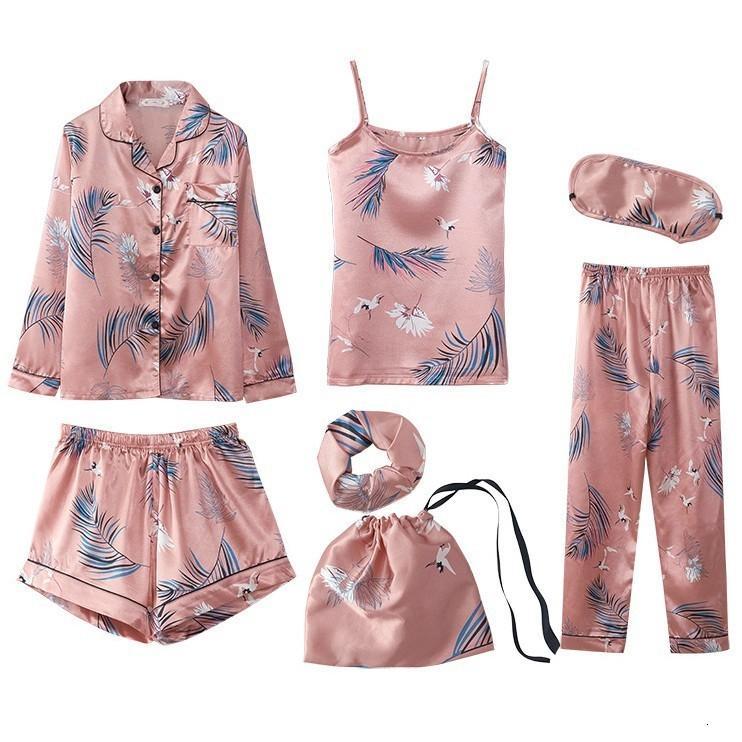 7-Piece Satijn Home Abbigliamento Donna Casual Pigiama Pack Intimo Lingerie Stampa Verche da notte