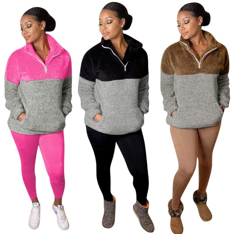 Womens Designer 2 Stück Hose Trainingsanzügen Zip Neck Panelled Sports Lounge Langarm Pullover Schlank Coral Fleece Bodycon lange Hosen Tops