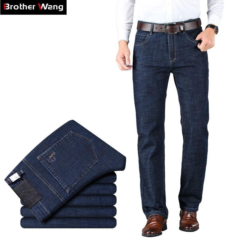 Neue Männer Klassische Business Jeans Mode Lässige Primärfarbe Slim Fit Kleine Gerade Männliche Hose Jeans Hosen Marke Kleidung Y200115