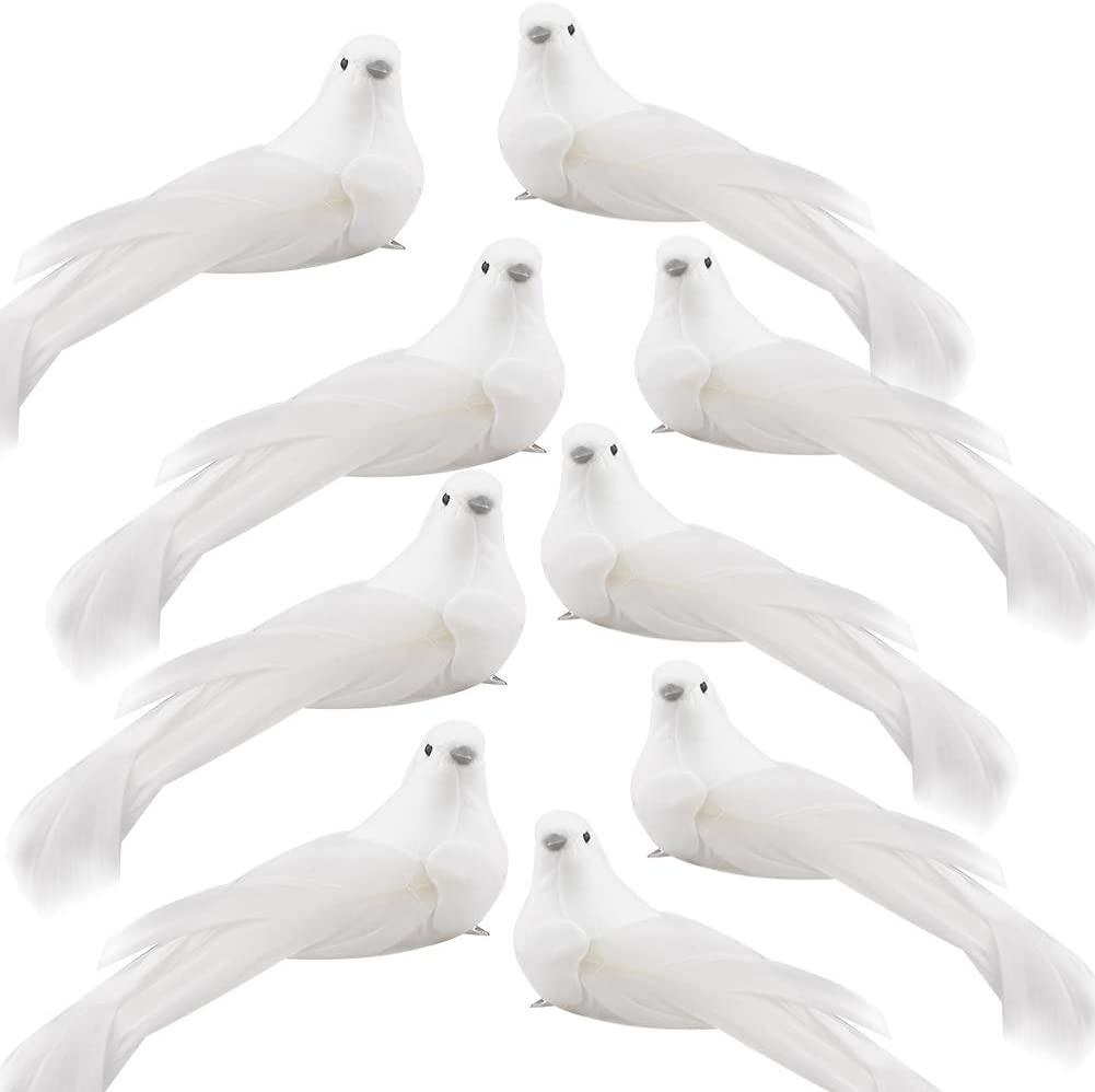 Искусственные птицы моделирования пены птица белые голуби украшения с металлическим клипсом DIY ремесло свадьба украшения рождественские украшения