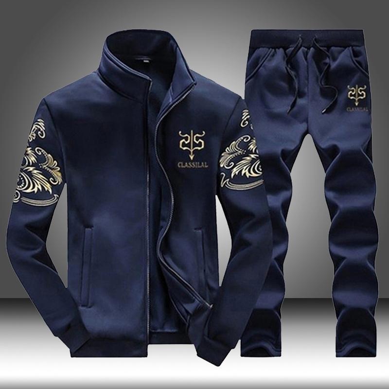 Marka Erkekler Spor Takımları Koşu Spor Spor Eşofman Erkek İki Adet Kazak + Sweatpant Spor Giyim Trainingspak Mannen 201207