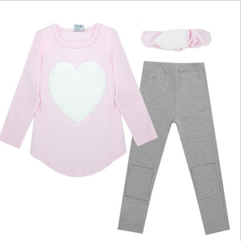 3 pcs 1 pc banda de cabelo + 1 pc camisas + 1 pc calças de roupa infantil conjunto meninas de manga comprida roupas ternos vermelho cor-de-rosa coração algodão y200525
