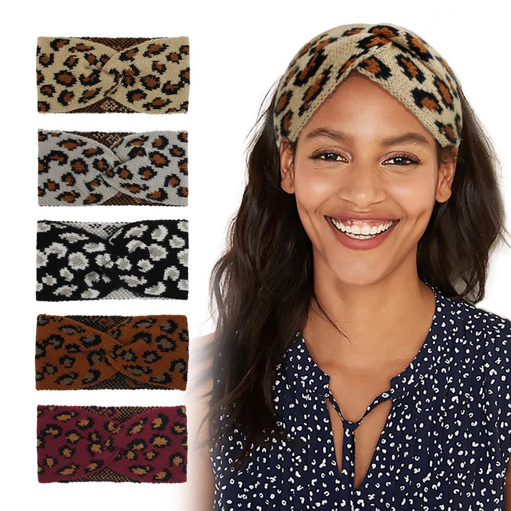 Leopard Knitted Headband Fashion Criss Cross Hair Band Winter Elasticity Bandanas Warm Wool Knitting Woman Headwear DDA637