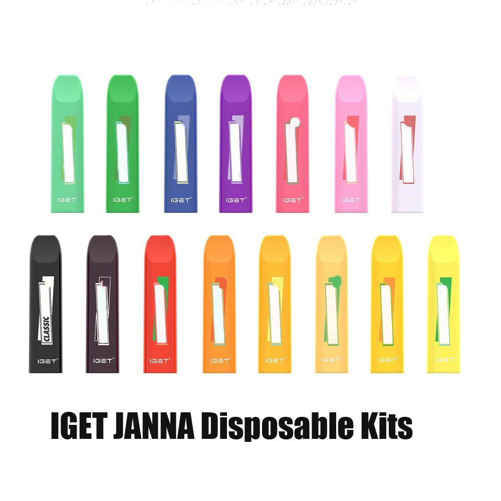 100% d'origine d'origine JANNA JUNANA DISPOSITIF DE DISPOSITIF 450 Puff 280MAH Batterie 1.6ML Portable Portable Portable Pen Stick Stick Bar Plus