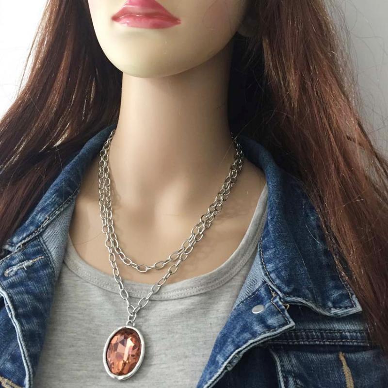 Anslow New Marque punk rock rétro bijoux en cristal de conception 2 couches grande chaîne de cristal Femme Collier de cadeau de Noël LOW0089AN