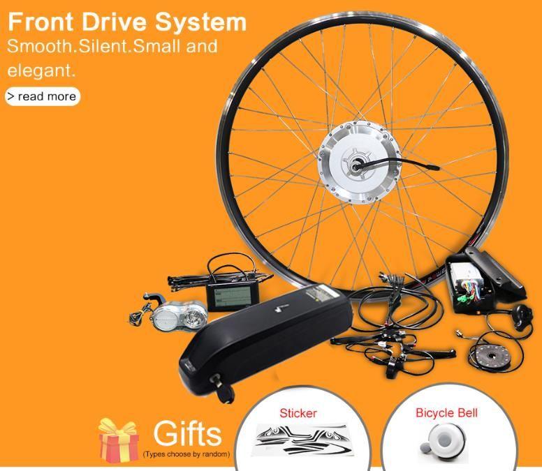 Bafang 350W 500W 48V Ebike Conversion Kit de conversión delantero Motor del cubo de engranaje de la rueda sin escobillas con la batería para el kit de bicicleta eléctrica