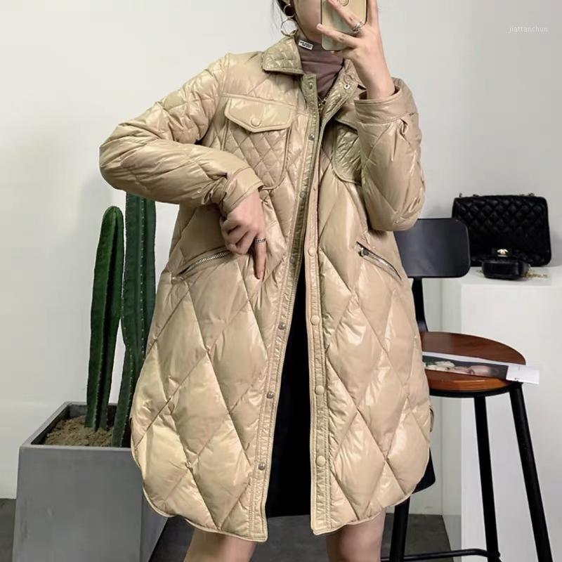 Europeo 2020 Nueva versión de invierno una chaqueta abajo de la solapa Diamond Lattice cultivate Morality Mujer en abrigo largo y delgado1