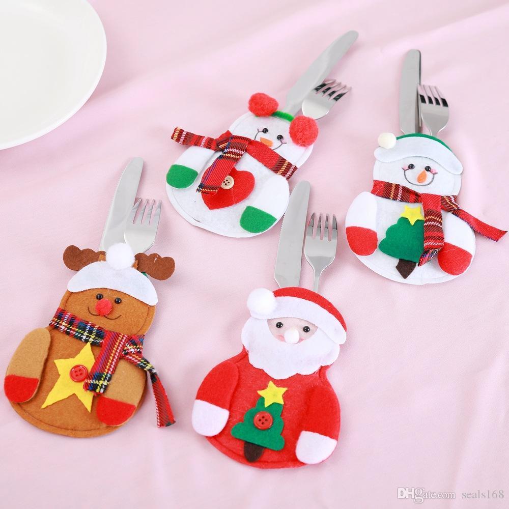 Weihnachtsschmuck Schneemann-Messer und Gabel Tasche Kreative Startseite Esstisch Besteck Abdeckung Weihnachten Tischdekorationen XD24010