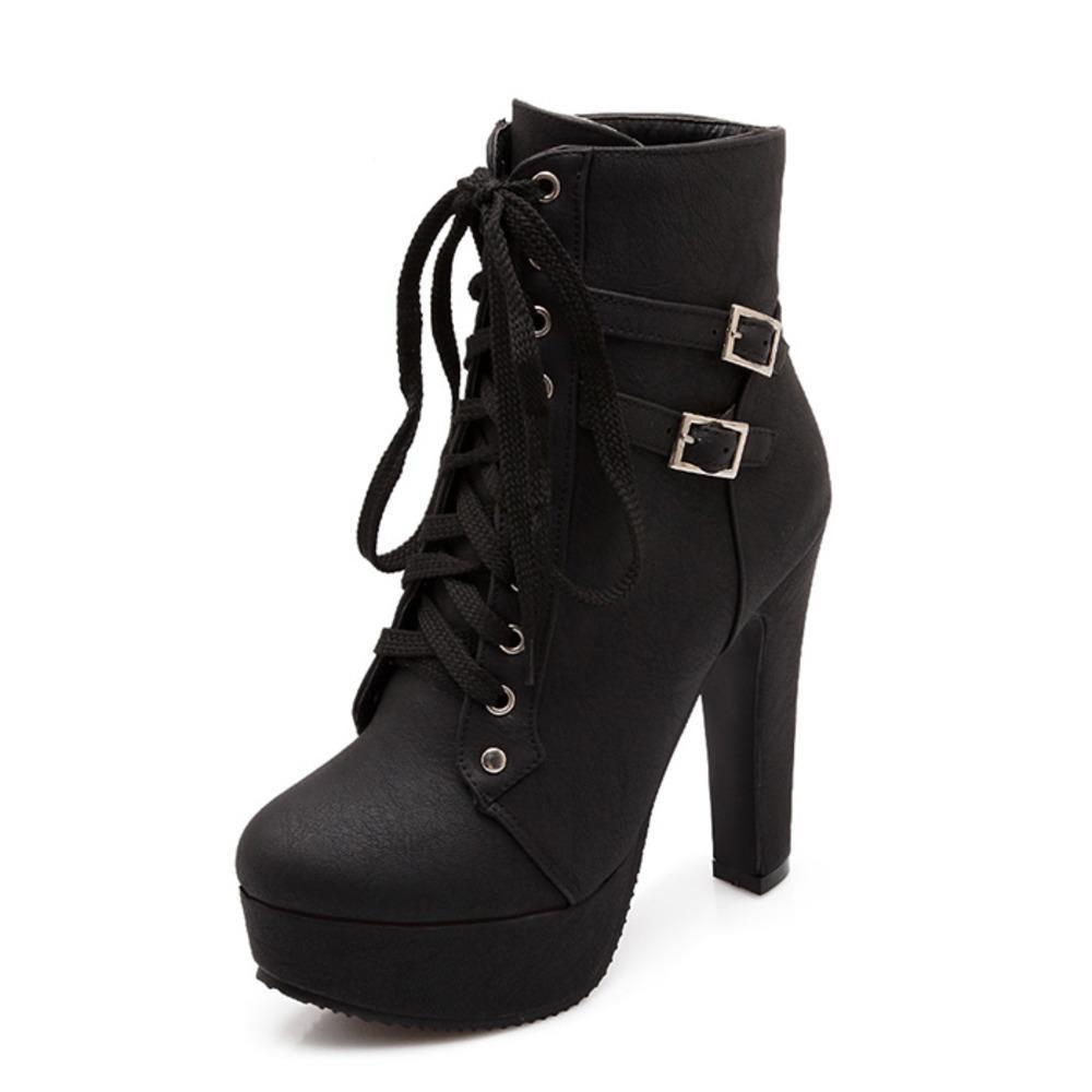 Plataforma Botas de tacón alto Mujer botas para mujer Tacones altos Botas de motocicleta Sexy Zapatos de plataforma Tamaño grande 42 Bota Feminina C0129
