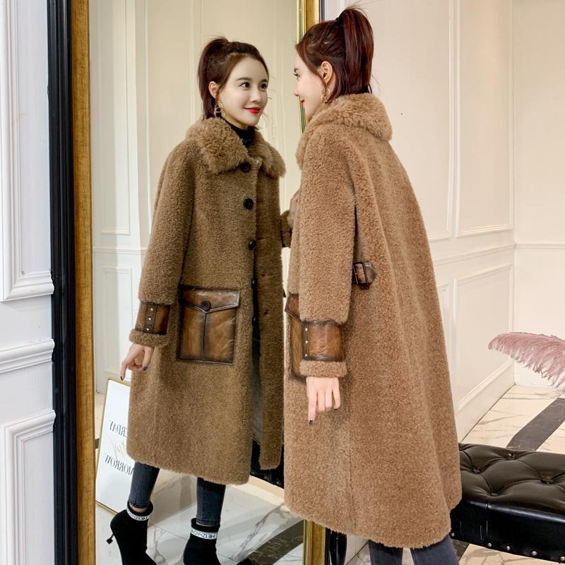 Futra damska Faux Prawdziwe ubrania 2021 Zima Kobiety Płaszcz Kobiet Koreański Vintage Owce Shearling 100% Kurtka Wełniana Zamszowa Podszewka V18D1885 YY1561