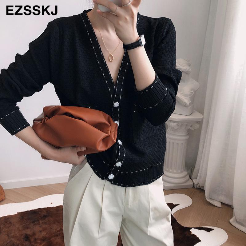 2019 printemps automne blanc cardigan cardigan femmes lâche veste tricotée cardigan pull femelle manteau élégant out usure T200407