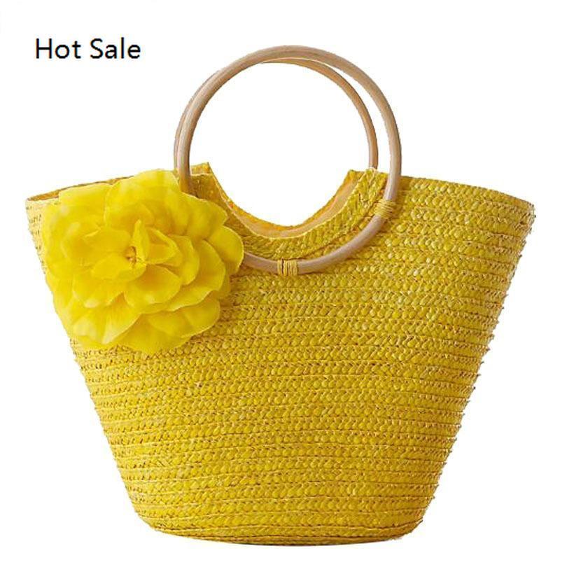 New Rattan Handle Woven Bag Flowers Straw Bag Lazer férias Tote Saco da praia de bolsas femininas