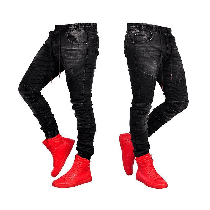 Jeans uomini blu e nero pantaloni sottili da uomo Denim Pantaloni Pantaloni a matita Pantaloni PURE PURE PER JEANS LA LOCOMOTIVA