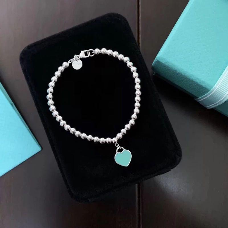 925 Sterling Silver Coeur Bracelet Dames Bijoux Bracelet Cadeau Bleu Cœur Bleu Cœur Sculpture Logo Original Grossiste
