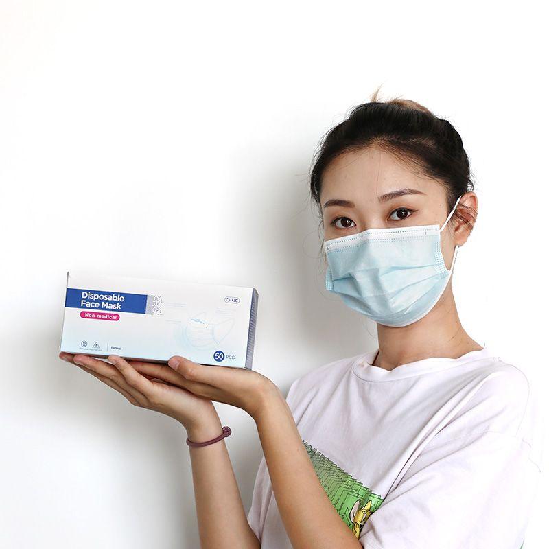 XVAEF быстрый цен Change Coundress Mask Mask Mask 3 Place Ploud Plose 3 Whosale 3 одноразовые OMC Ply Place Face 50 шт. / Коробка Erranoop Conniq